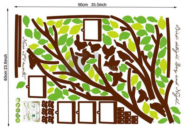 Large Reusable removable Photo Frame tree Wall Sticker decor Decal