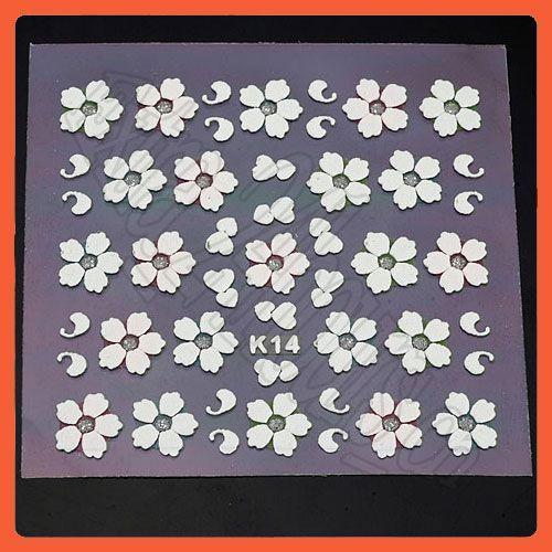 Sheets 3D Nail Art Stickers Beautiful Flower Design