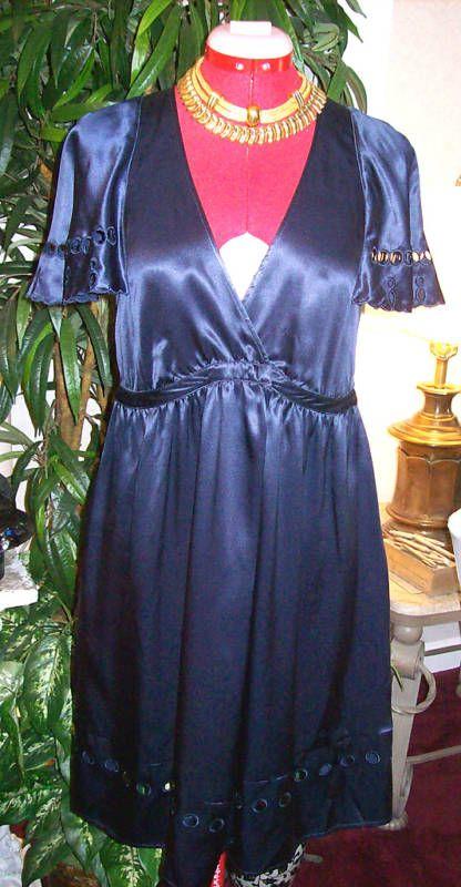 NEW CHLOE $595 NAVY BLUE SILK DRESS SZ 2 (38)