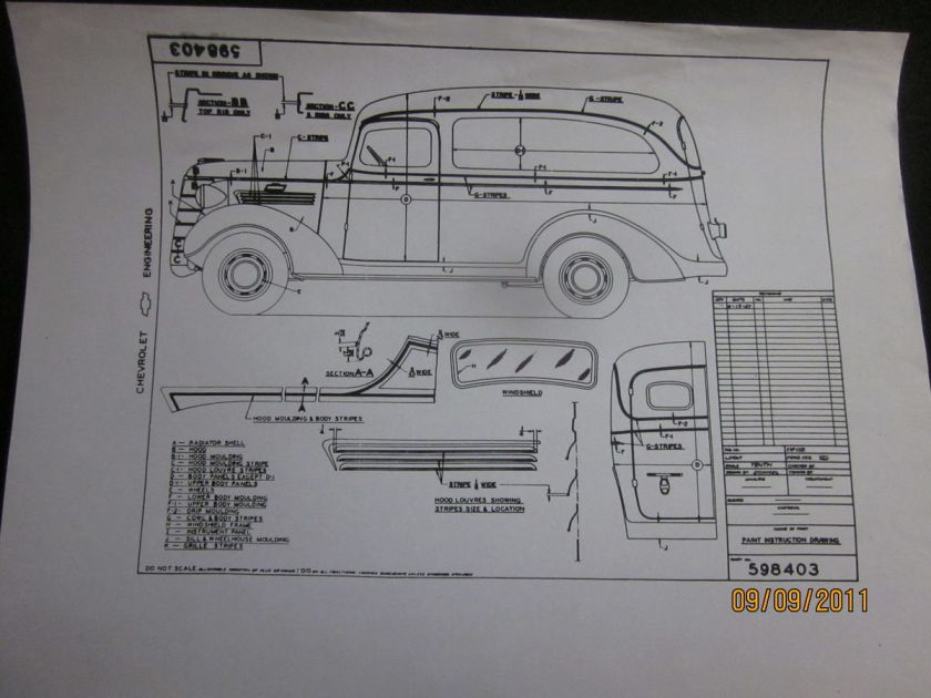 1938 Chevrolet Panel Truck Paint Instruction Drawing