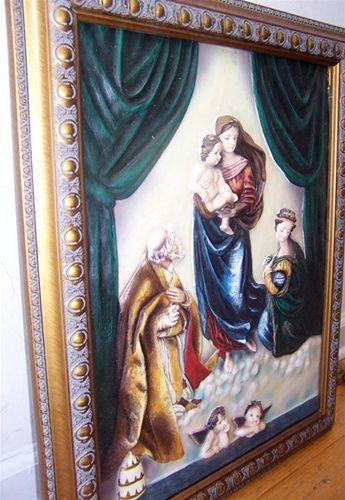 3D Religious Mary Jesus Cherubs Angels Wall Frame Art