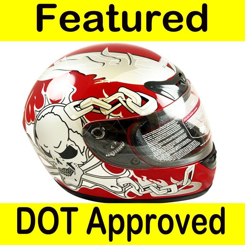 Motorcycle Full Face Sports Bike Helmet Red SKULL DOT Size L Large