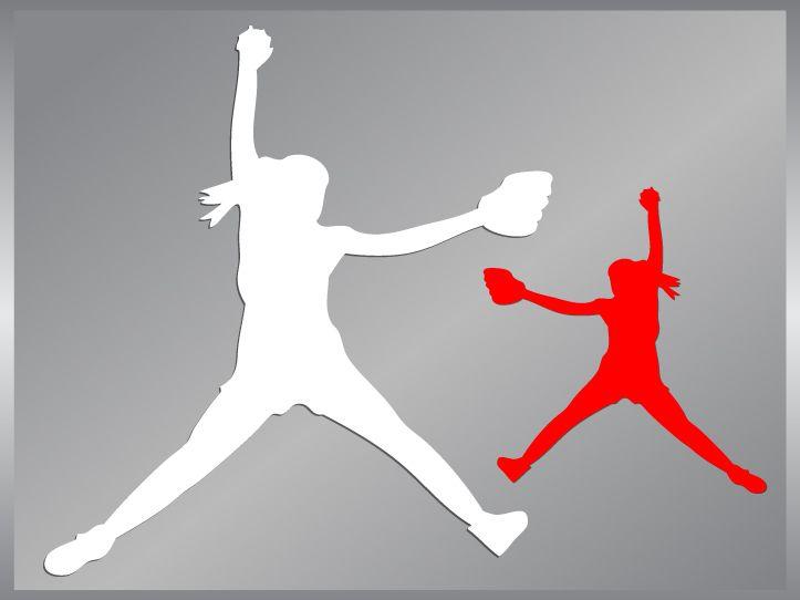 Softball Pitcher #1 cut vinyl decal car iPhone sticker