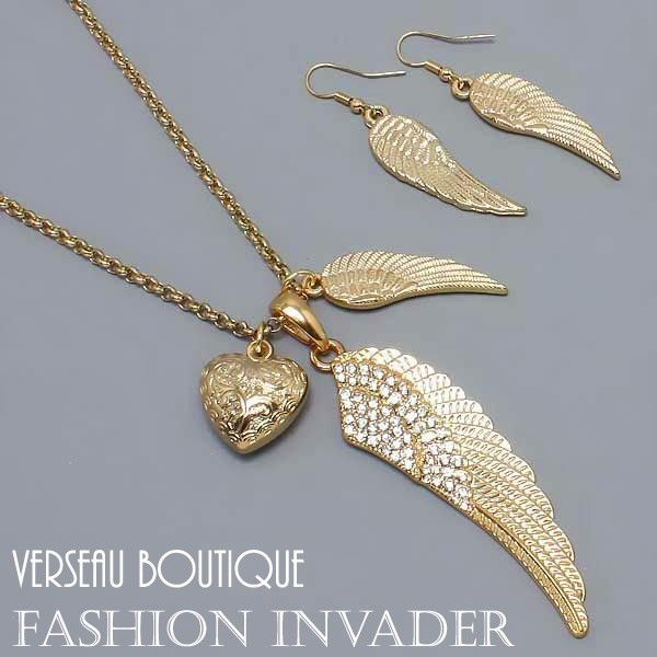 NEW Designer Inspd Angel Wing Necklace & Earring Set GD