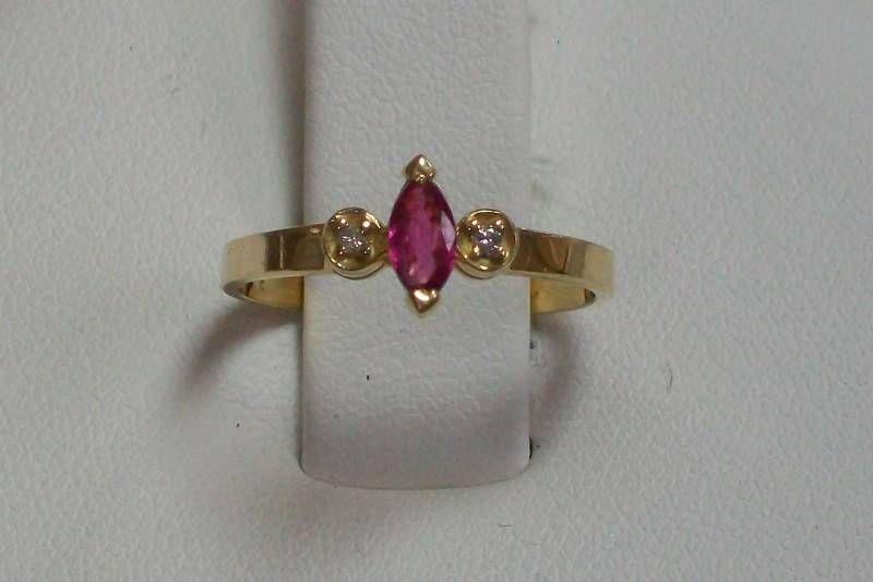 14K Yellow Gold Ruby and Diamond Gemstone Ring