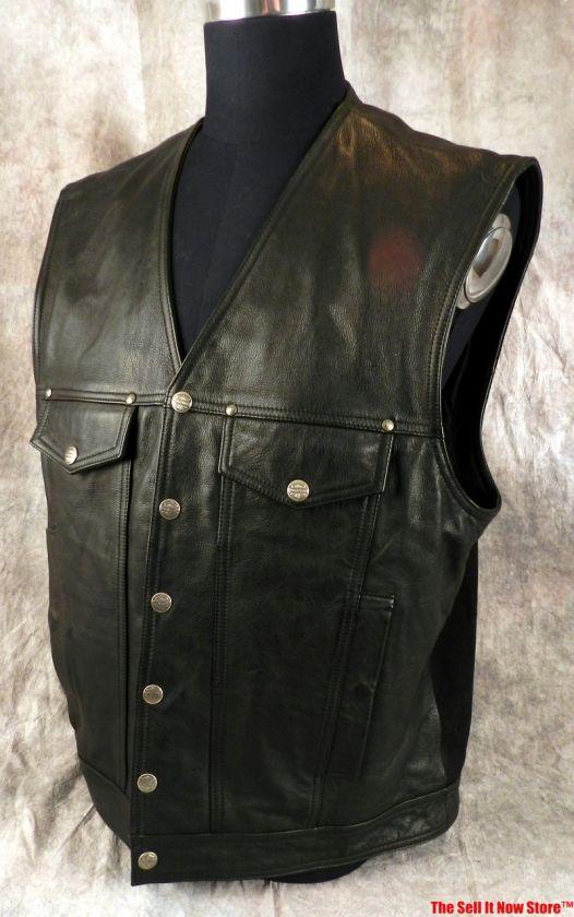 HARLEY DAVIDSON MOTORCYCLES CLOTHING MENS VEST SIZE XL BLACK LEATHER