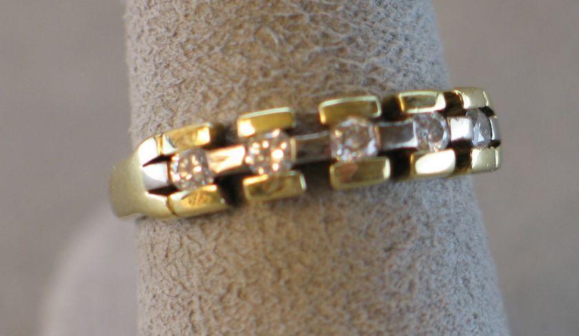 18k yellow & white gold diamond band   4.7 grams  .30 cts tw (#C212
