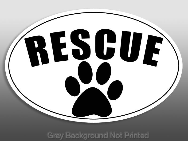 Oval Rescue Paw Sticker   dog decal dogs stickers adopt