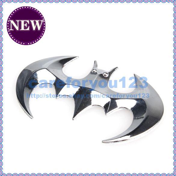 Brand New Silver 3D Bat Shape Chrome Badge Emblem Car Sticker Decal