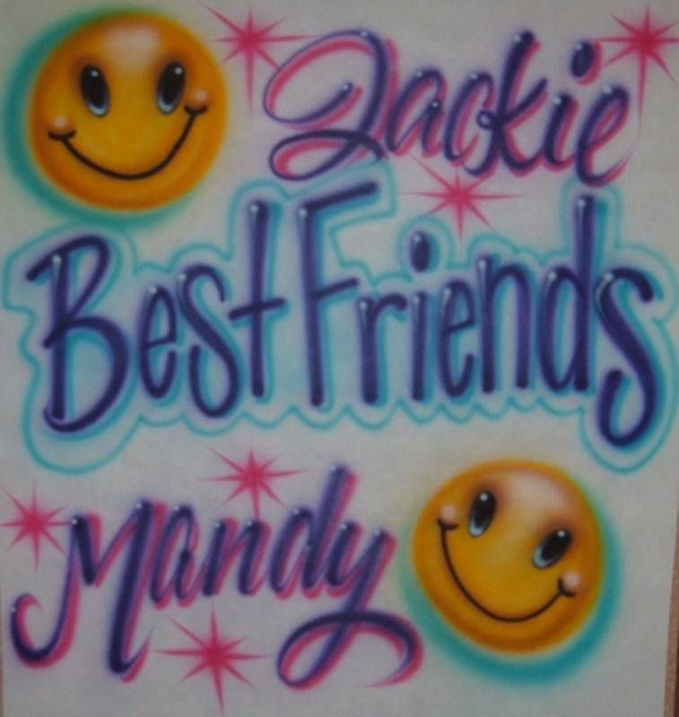 Airbrush Best Friends Personalized Airbrushed T Shirt