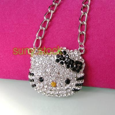 Hot cute black Hello kitty crystal pendant necklace L85